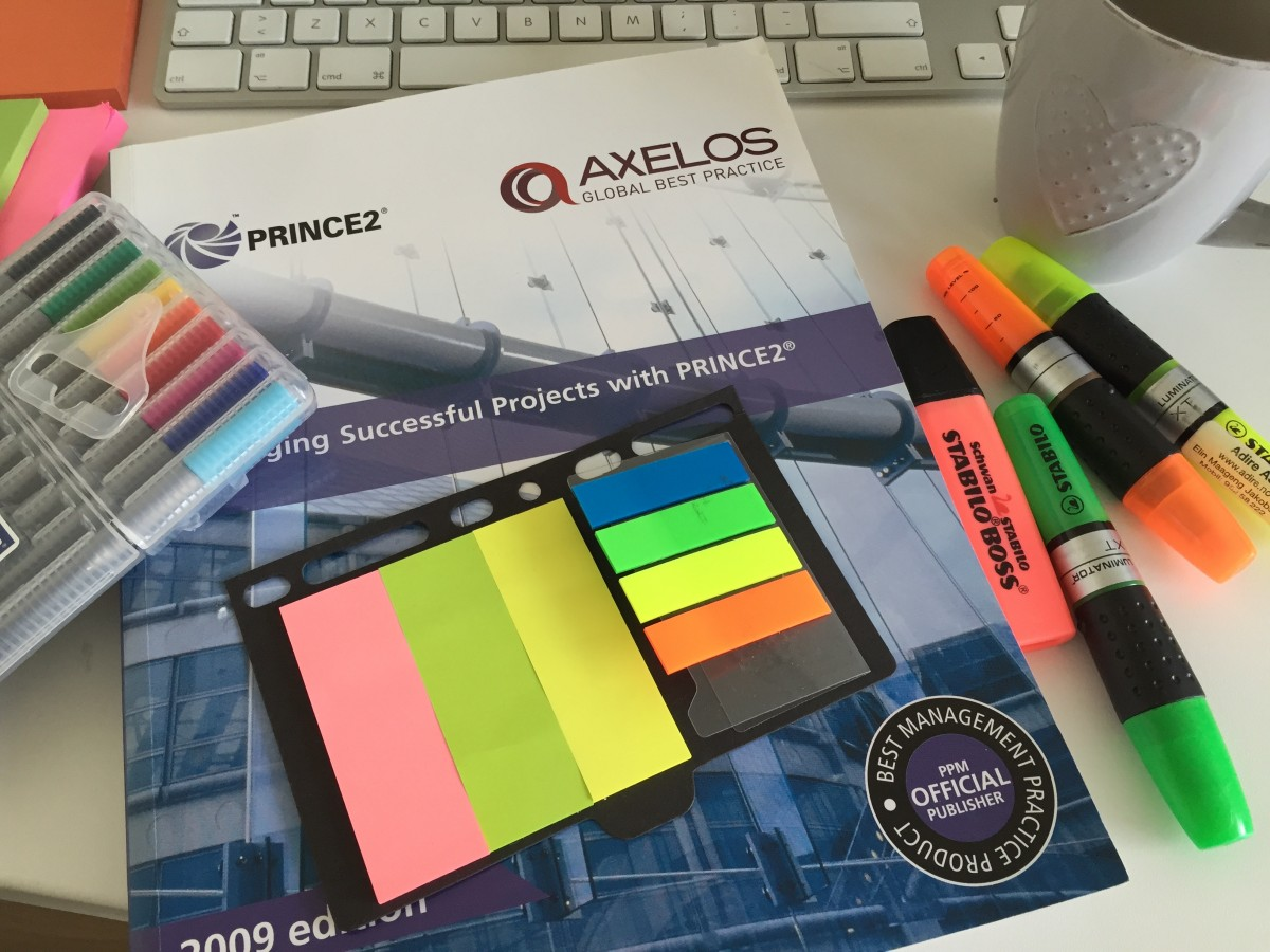 PRINCE2 Manual with highlight pens